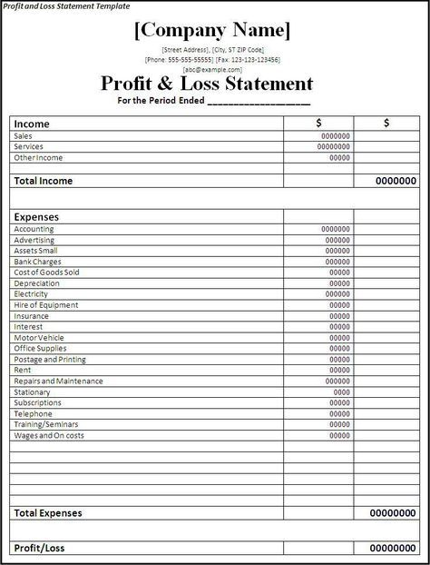 profit and loss statement template BUSINESS RELATED Pinterest - profit and lost statement