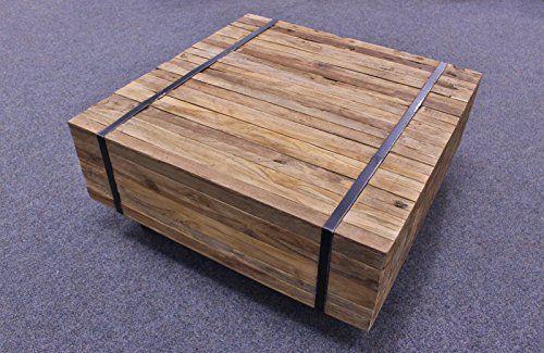 TEAK Planken Couchtisch TOULOUSE Teakholz Antik Massiv VINTAGE Tisch Auf Rollen 60x60 Cm