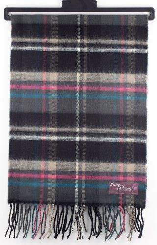 Softer Than Cashmere Plaid Striped Long Fringe Winter Scarf Shawl Wrap - 72x12 - Pink, Gray, Black
