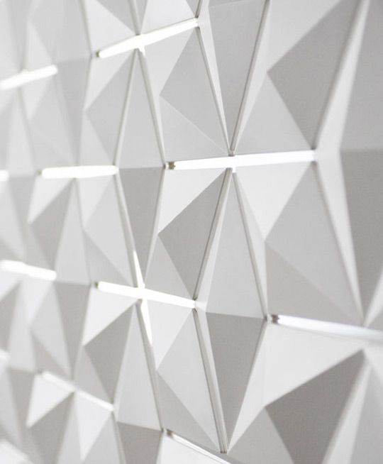 Light Facet Diamond Shaped Light And Room Divider Acoustic Wall Texture Design Wall Design