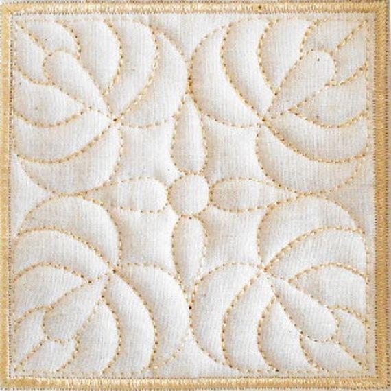 Trapunto Quilt Block Machine Embroidery Design- block02 | Bordado