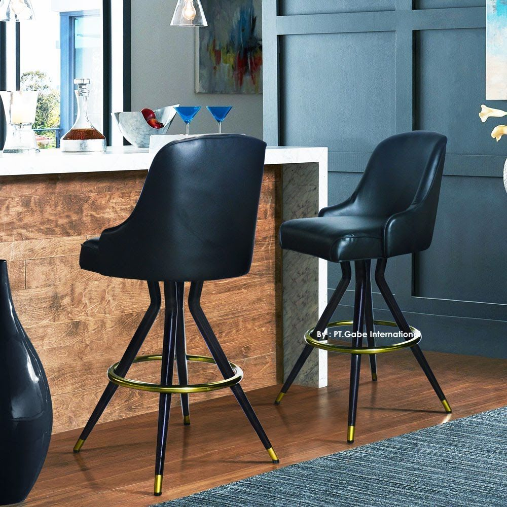 Barstool Combination metal brass, swivel seater #agedbrass #workstation #officefurniture #ofismobily...