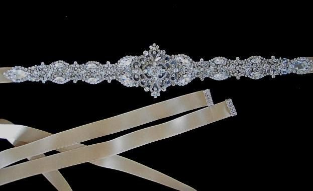 Victorian Bridal Brooch, Art Deco Bustier Broach, Wedding Dress Jewelry, wedding sash, crystal belt. $150.00, via Etsy.