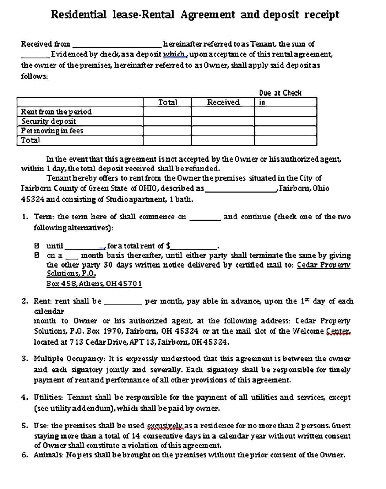 Lease Receipt Template Sample Receipt Template Being A Landlord Templates