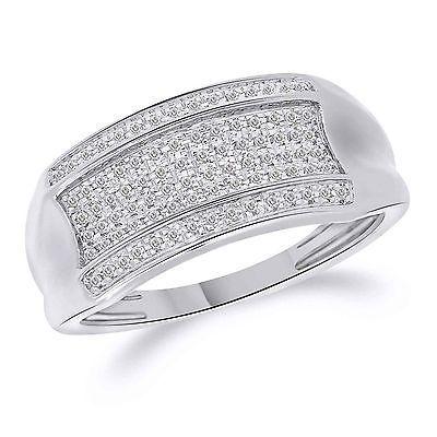 0.14 Ct Round Cut Pave Diamond Wedding Band Mens Engagement Ring 10K White Gold