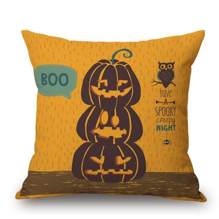 3PCS Halloween Pumpkin Bat Owl Pattern Pillowcase Cotton Linen Throw Pillow Cushion Cover Seat Home Decoration Sofa Decor 1 TYPE