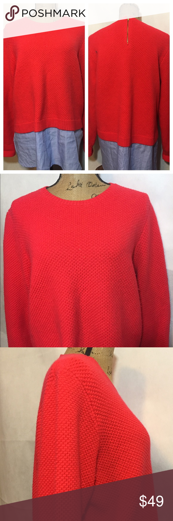 J. Crew wool/cotton layered shirt Used good condition see photos. Very unique! Dry clean. J. Crew Sweaters