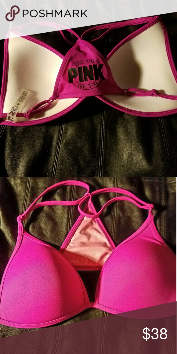 Pink swim suit top New never worn size large will fit a C or D cup PINK Victoria's Secret Swim Bikinis