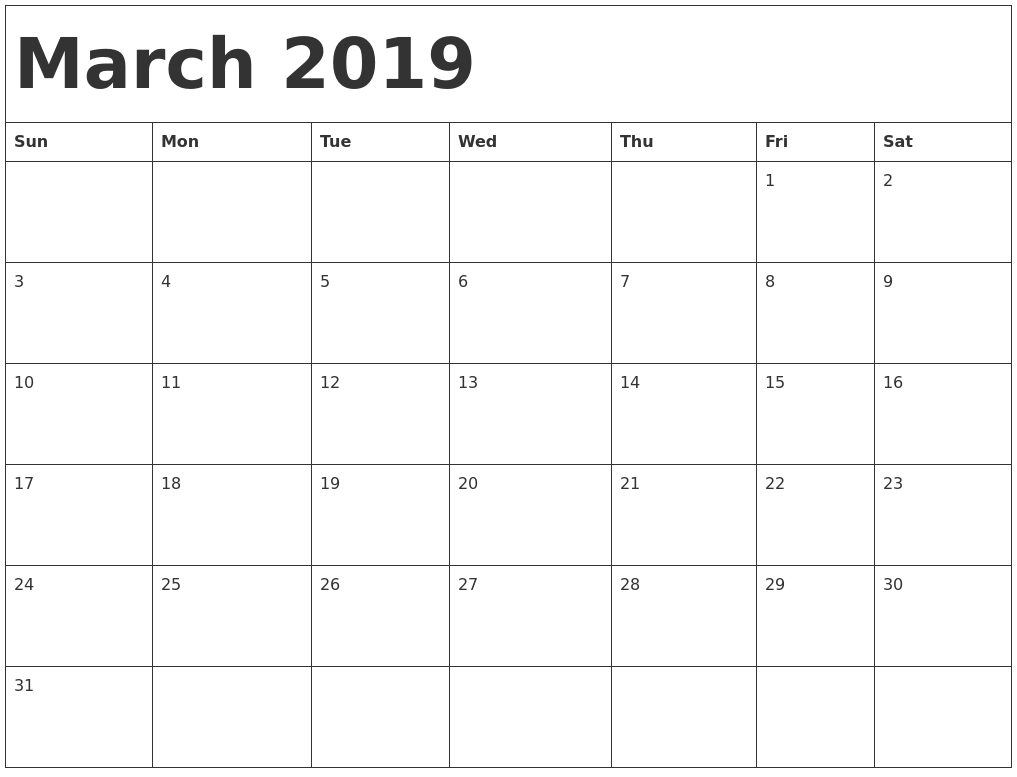 Free March 2019 Calendar 2019 Printable Collection Pinterest