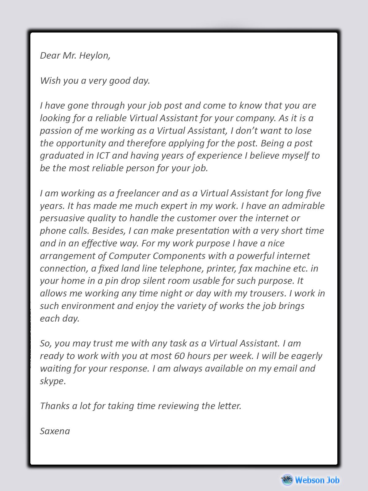 Virtual Assistant Cover Letter Best Sample For Va Job Cover Letter Virtual Assistant Cover Letter Template