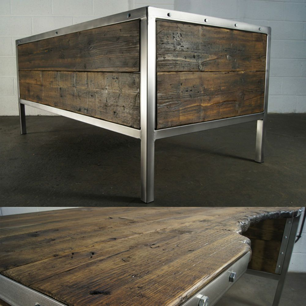 Handmade Industrial Polished Metal Office Desk Rustic Old Retro By