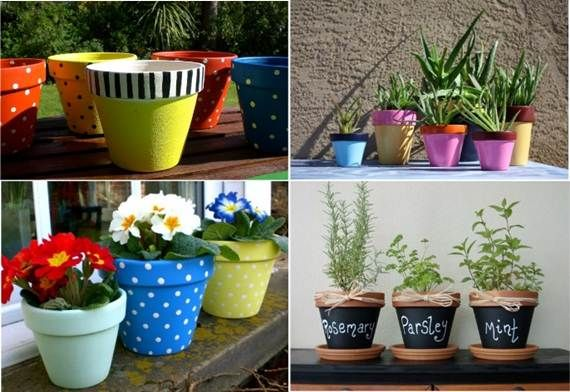 Decorate your terra cotta pot planters so creative for Outdoor decorating with potted plants