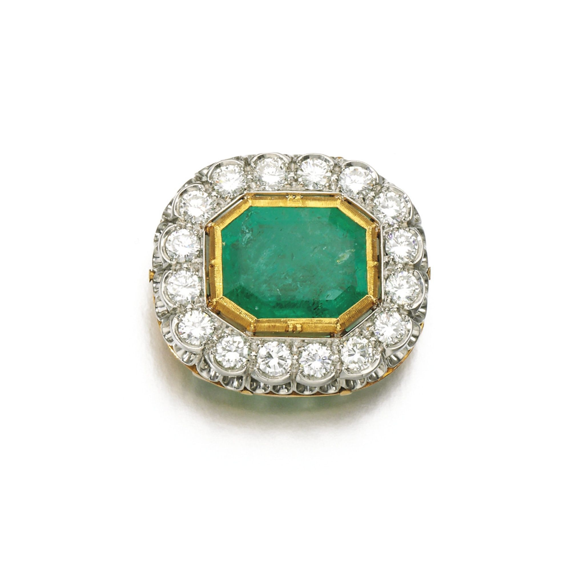 Shani Emerald: Emerald And Diamond Brooch Set With A Step-cut Emerald Within A Border Of Brilliant-cut Diamonds