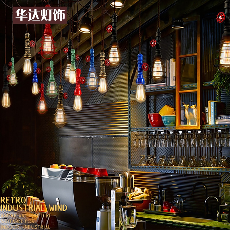 63.37$  Watch now - http://ali5j9.worldwells.pw/go.php?t=32719003225 - Individual American retro loft industrial Iron Chandelier wind meal living room single head bar pipe rope Chandelier