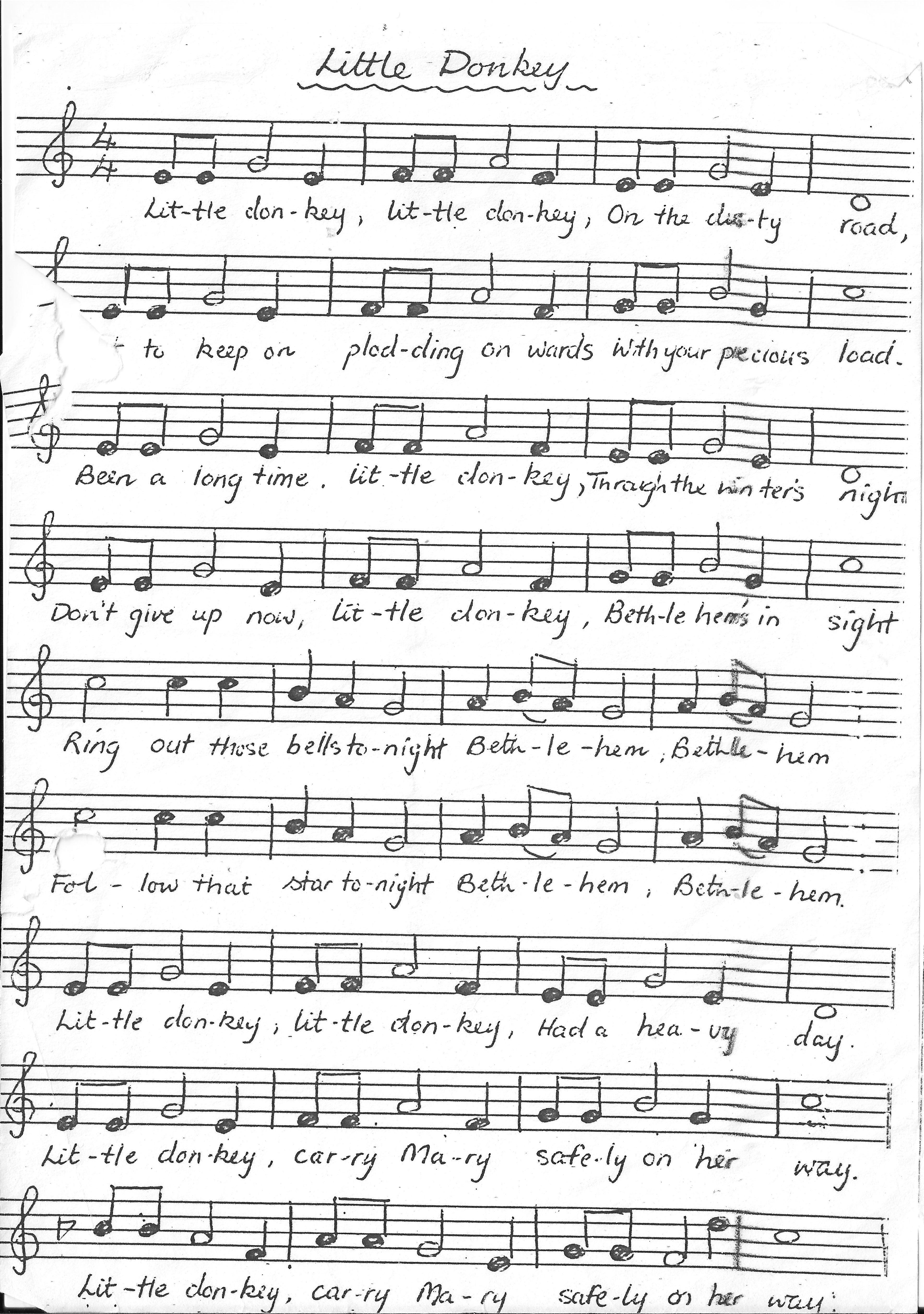 Little Donkey Christmas songs lyrics, Christmas sheet