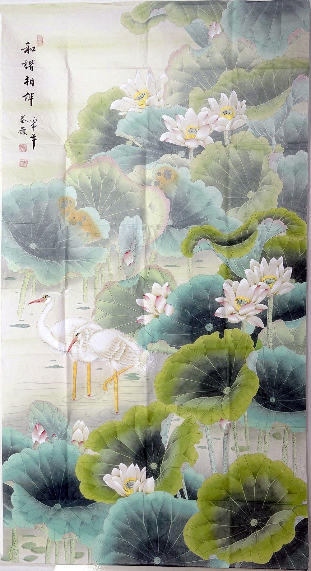 Floral paintings lotus painting artwork silk flower painting floral paintings lotus painting artwork silk flower painting us 19600 izmirmasajfo