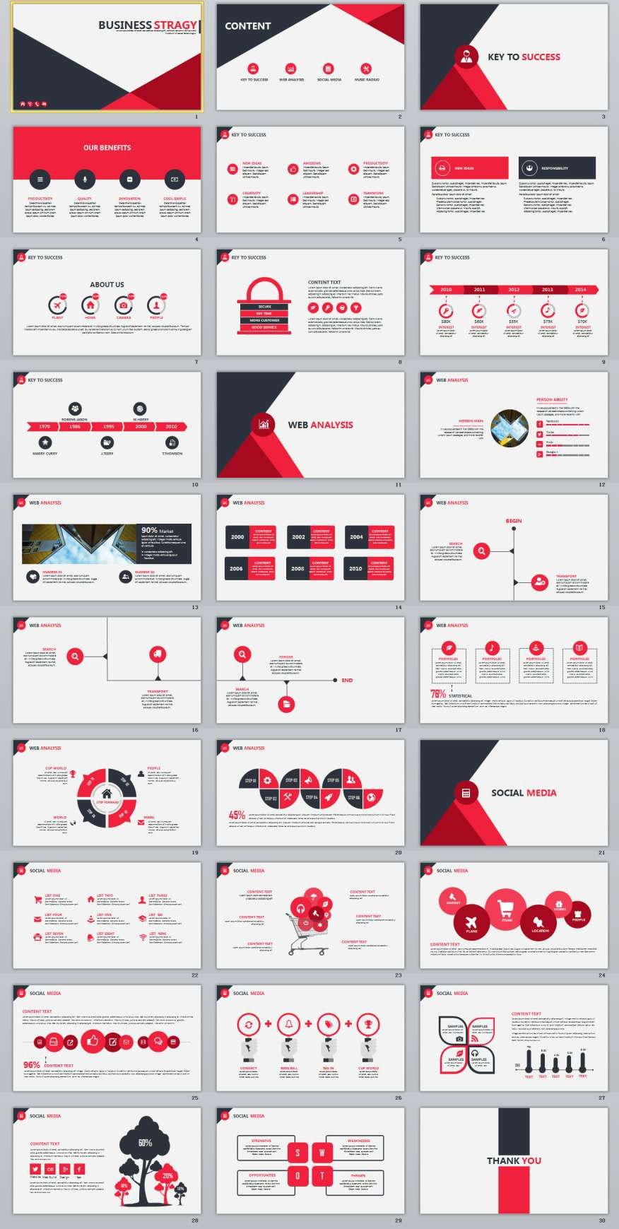 Red Infographics Report Powerpoint Template   Infographic