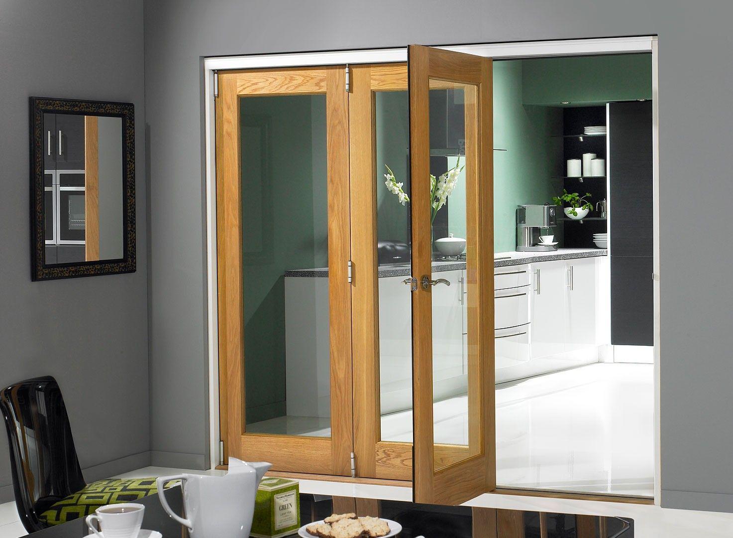 Finesse Oak 1.8m (approx 6ft) Internal Bifold Doors - with bottom ...