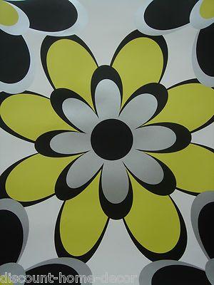 As Creation Funky Wallpaper Range Fl Stripe White Black Silver Lime Green On Ebay
