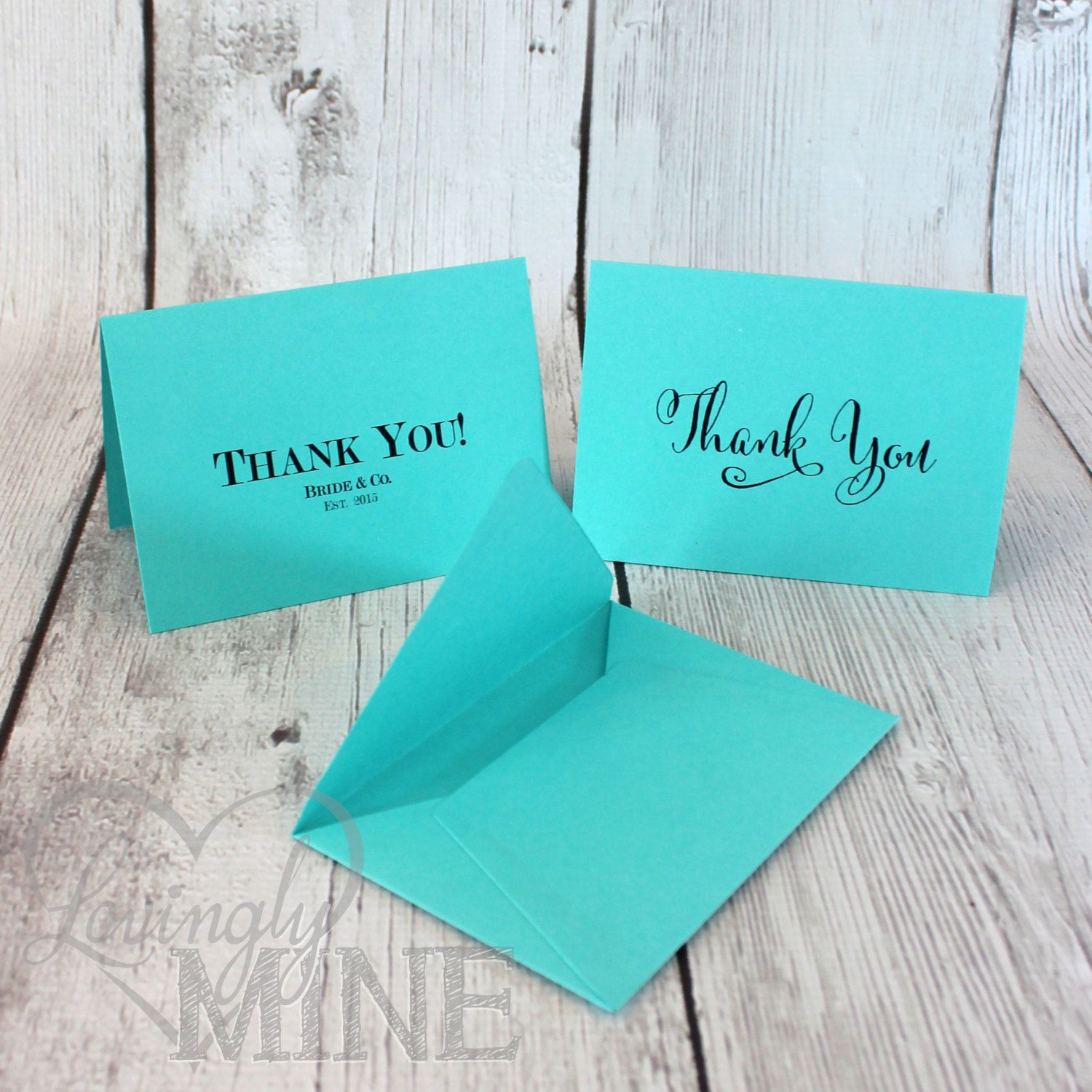 5e2d4805eac Tiffany & Co Inspired Thank You Cards with Matching Envelopes - Set of 10  by LovinglyMine on Etsy