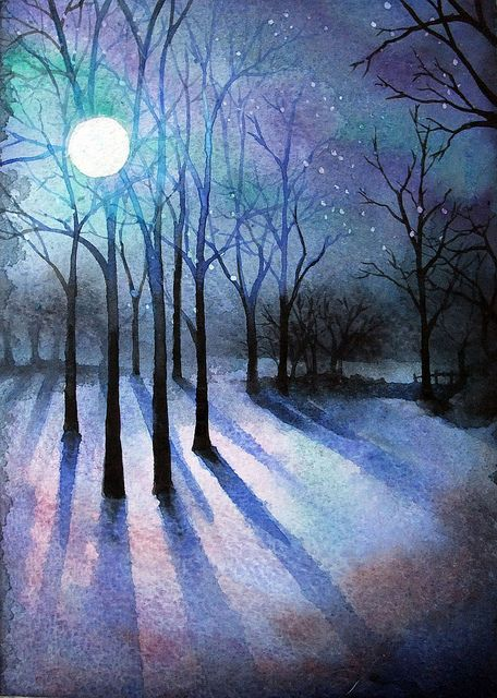 Night Night Landscape Watercolor Landscape Night Art
