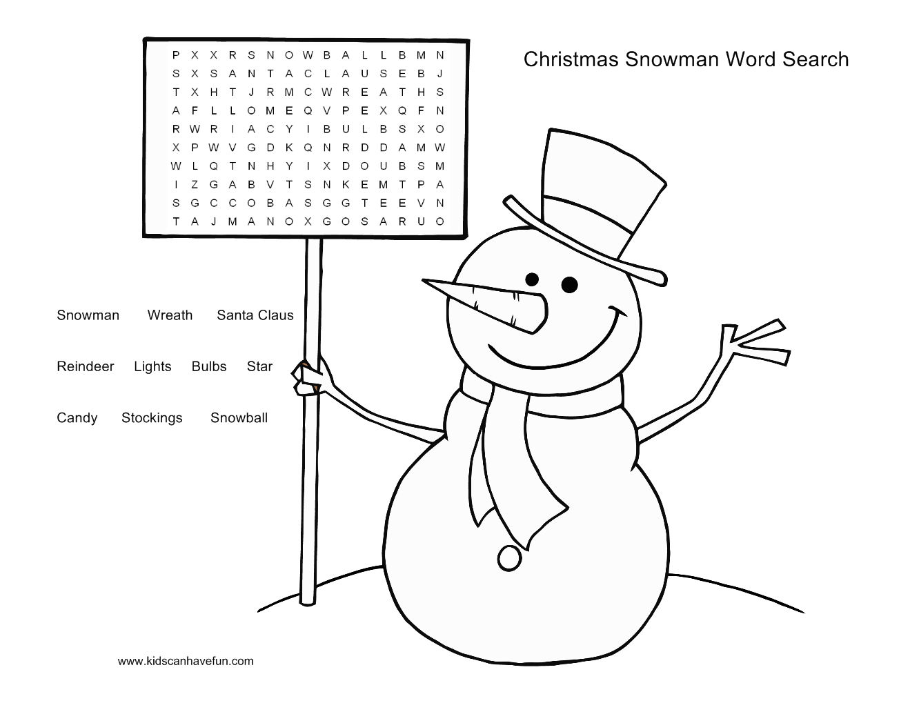 snowman word search puzzle for the kids http www kidscanhavefun