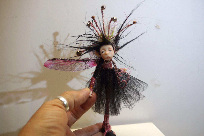 ooak poseable crazy hat PIXIE fairy( #3 ) polymer clay art doll by DinkyDarlings elf pixie faery by DinkyDarlings on Etsy