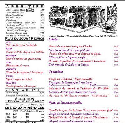 La Fontaine De Mars | menus belles | Pinterest