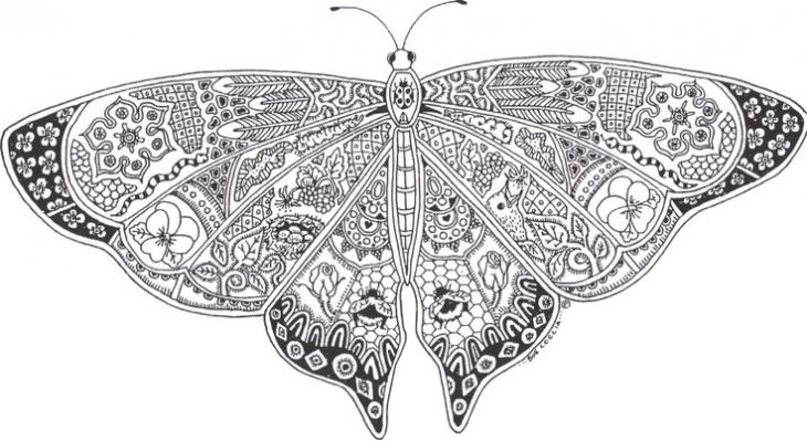 Challenging Abstract Butterfly Coloring Page For Adults Letscolorit Com Butterfly Coloring Page Free Coloring Pages Coloring Books