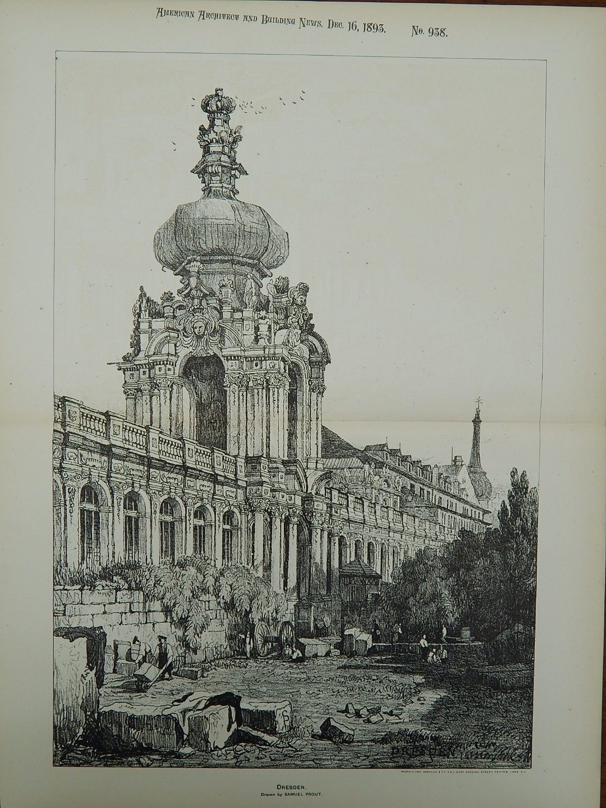 Dresden Germany Drawn By Samuel Prout 1893 Original