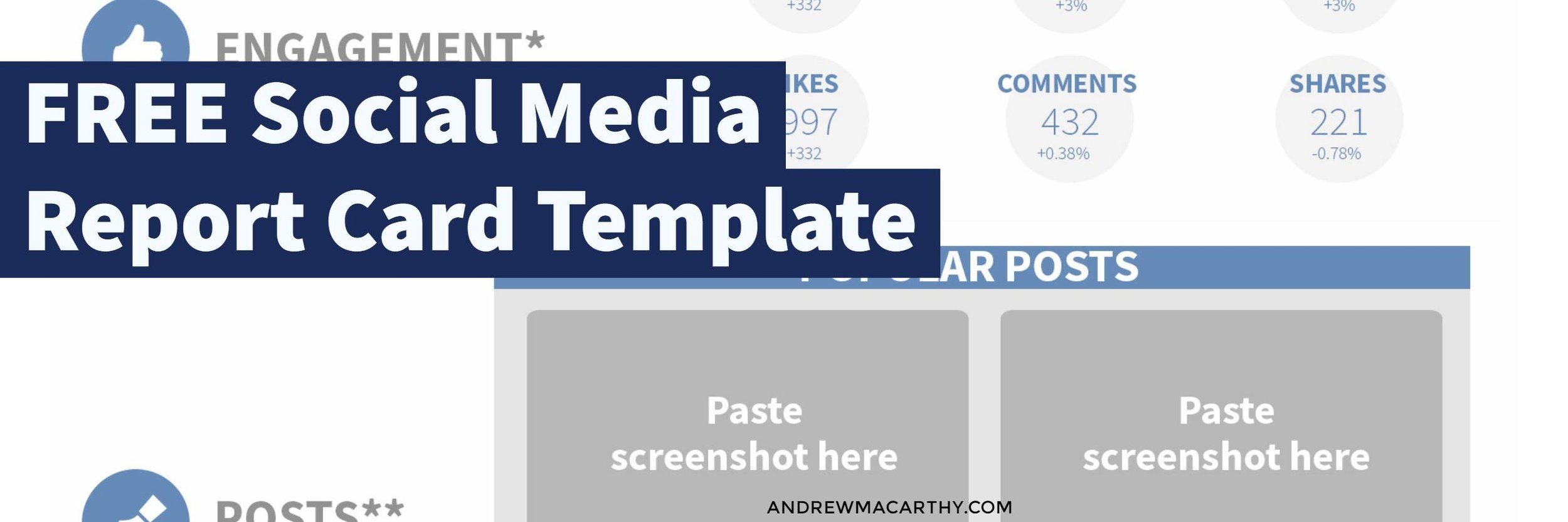 Use This Free Social Media Report Card Template To Wow Your Boss And Clients Photoshop Psd Social Media Marketing Tips Social Media Swansea Wales Andre Social Media Report Free