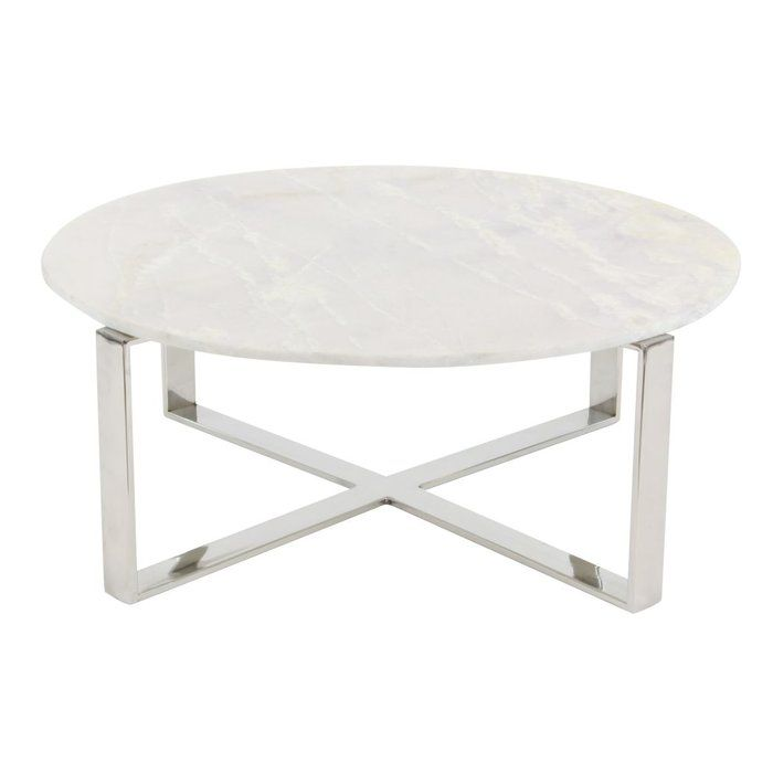 Modern Reflections Stainless Steel Marble Coffee Table Round