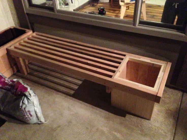 garden bench planter box. 2x4 bench with planter. nice. bke garden planter box
