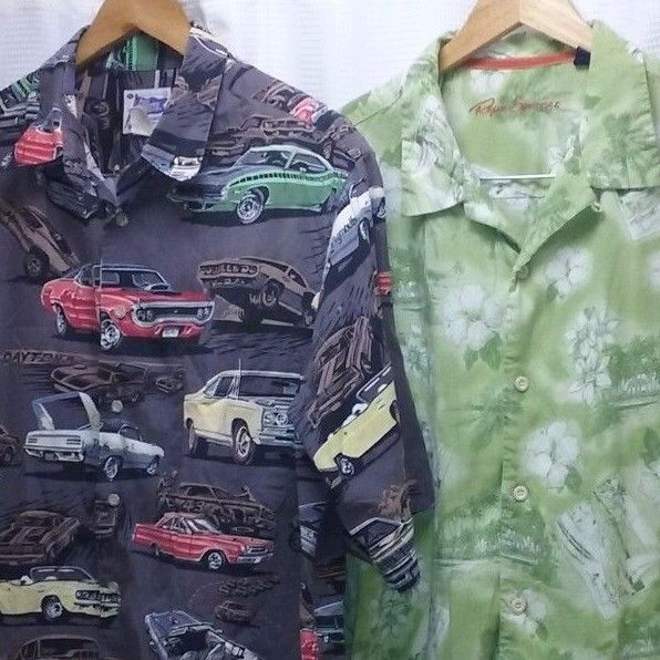 5db23c42 Lot of 2 Hawaiian shirts XL Reyn Spooner Eddy Y Mopar muscle cars Cuda Dodge