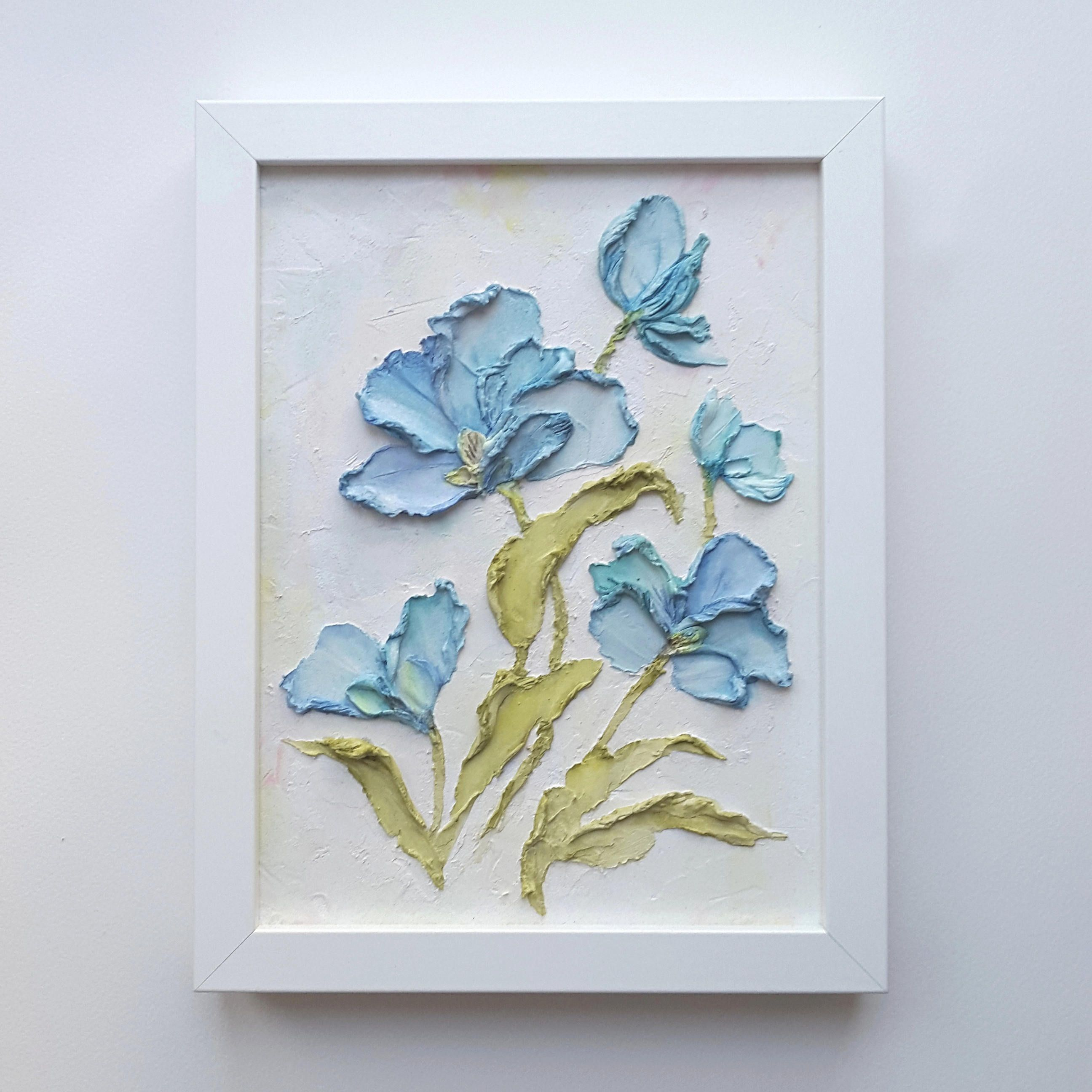 Original floral painting  Abstract floral art  Blue flowers