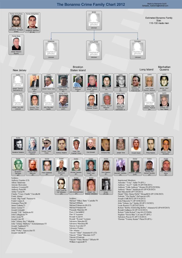 Bonanno Crime Family Leadership Chart - New York Mafia | Mafia and ...