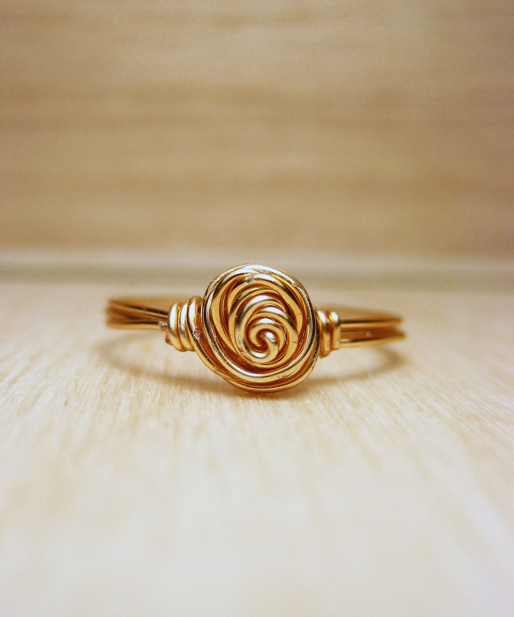 Little Gold Knot Ring on Gold Plated Wire - Wire Wrapped Ring #shoplately