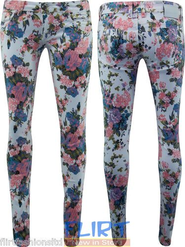 Womens Jeggings Flower Print Skinny Fit Ladies Full Length Jeans Trouser Pants