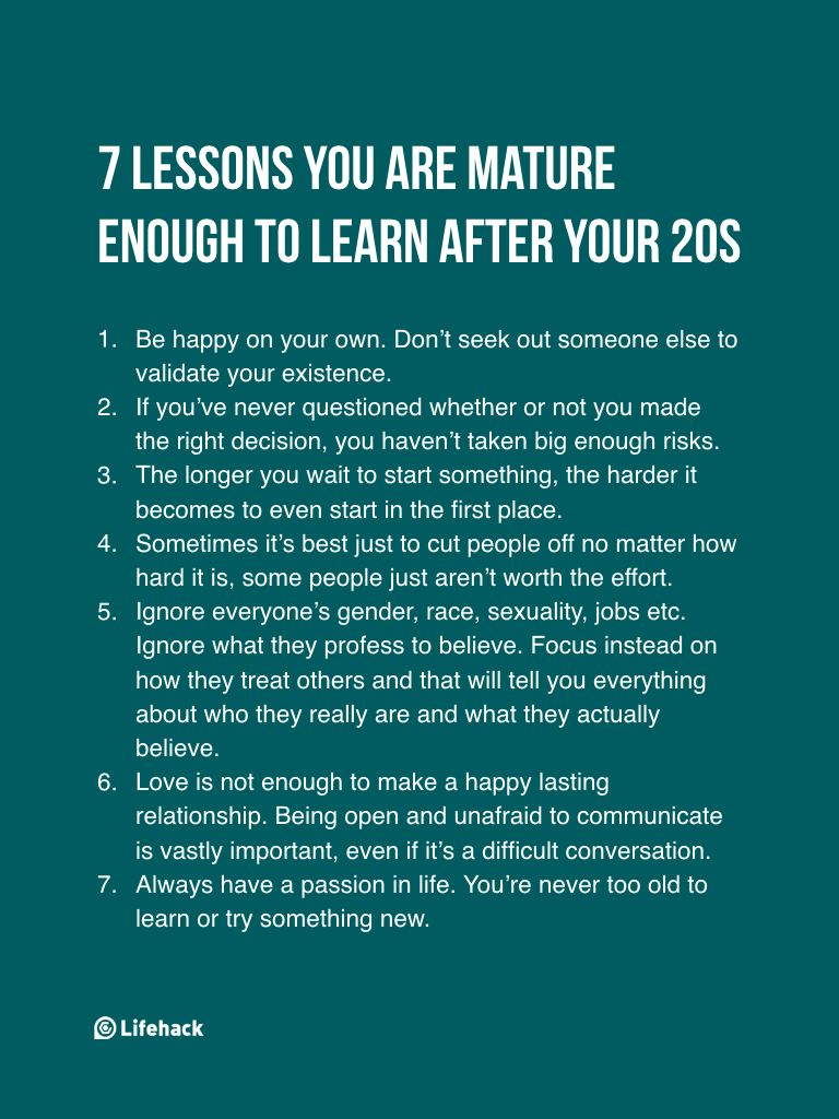 Mature lessons for young