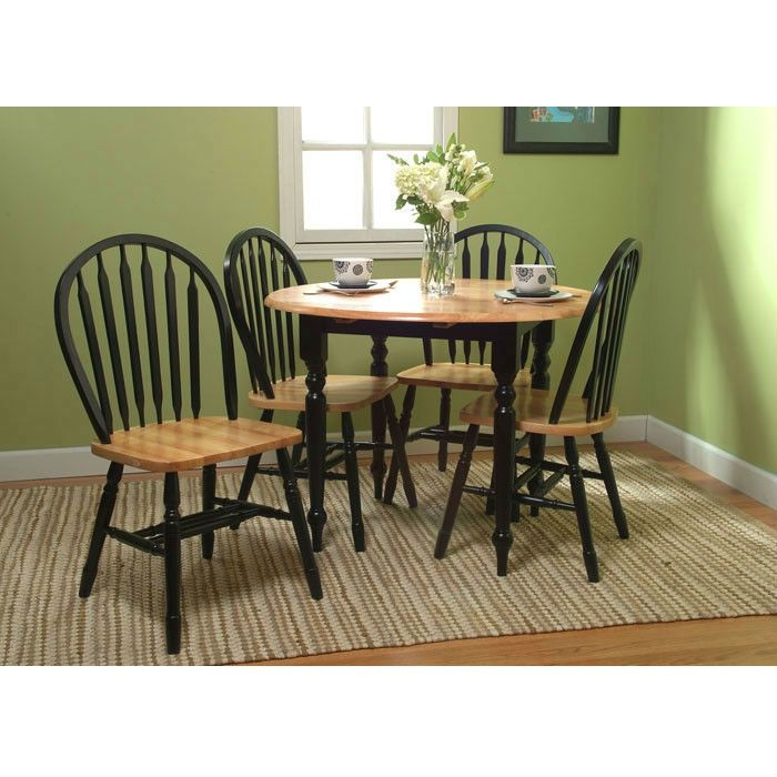 5 Piece Casual Clic Dining Set In Black Natural Wood Finish Quality House