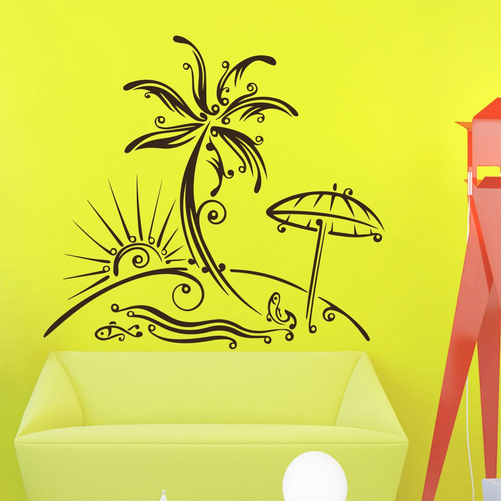 Wall Decal Palm Tree Beach Sun Decals Art Living Room Decor Sticker ...