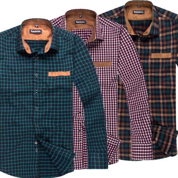 Mens Vintage Fashion Plaids Casual Work Plain Dress Shirts Button ...