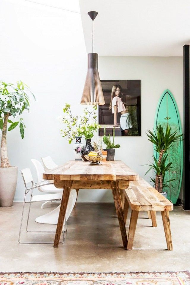 Good Costal Inspired Dining Room With A Surfboard, A Bench Doubling As Dining  Room Seating And Nice Design