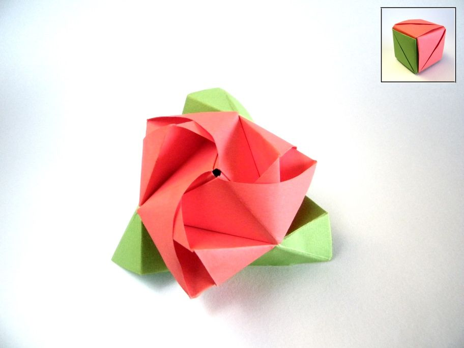 From 6 squares (3 green and 3 red) After folding the marvelous Nilva Pillan rose I got aware that I never published this outstanding origami model. I folded it for the 1st time in my early beginnings in this art and I still remember all the excitement I felt then. For those who don't know this model yet, we get a cube after the assembly but pulling some layers we get a rose with leaves. It's a granted success :) Surely is one of the models I gave away more times. Diagram: vaidepla...