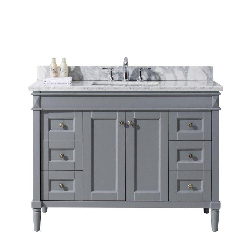 Tiffany 48 Single Bathroom Vanity Cabinet Set In Grey With