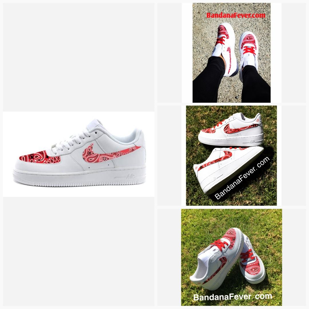 Red Bandana Scarf Custom White Nike Air Force Shoes in