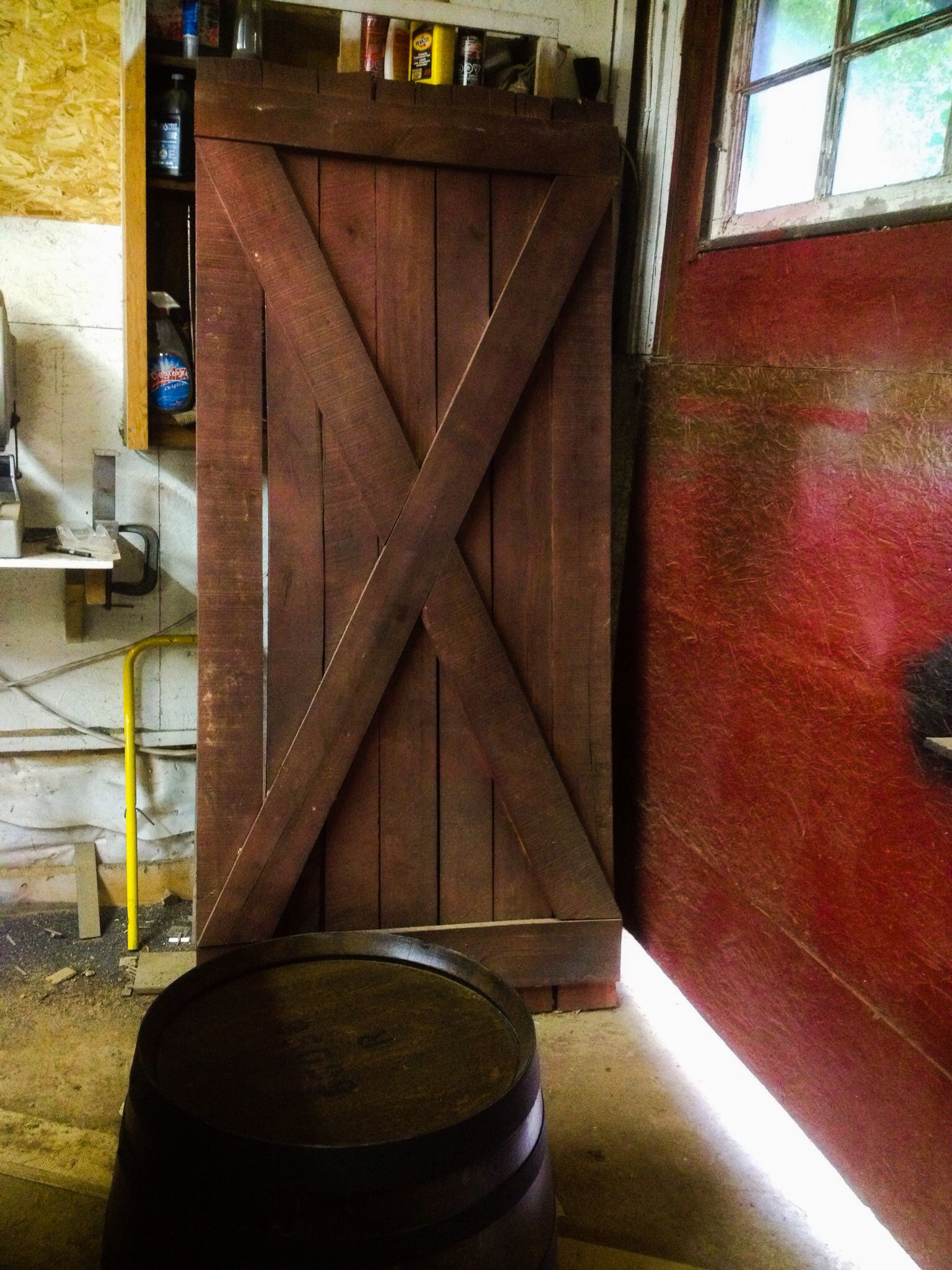 Red Sliding Barn Door red sliding barn door, handmade in armstrong bc. in stock and