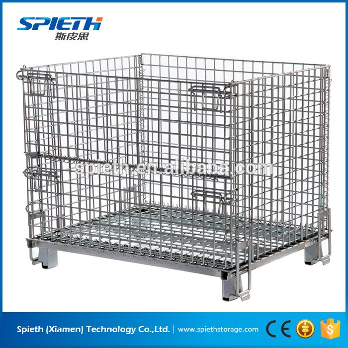 galvanized metal collapsible and stackable wire mesh container ...