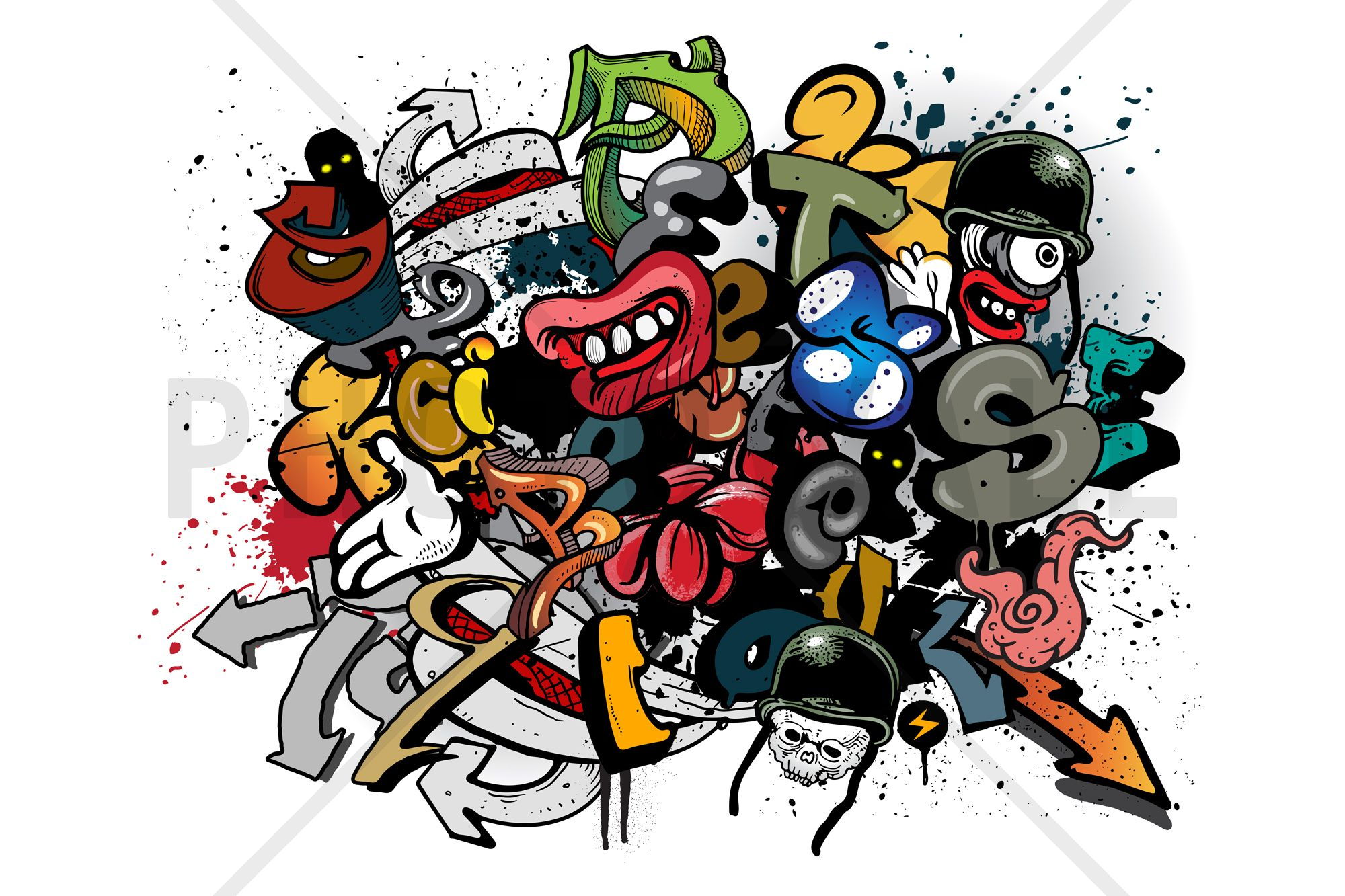 Graffiti elements wall mural photo wallpaper - Graffitis en dormitorios ...