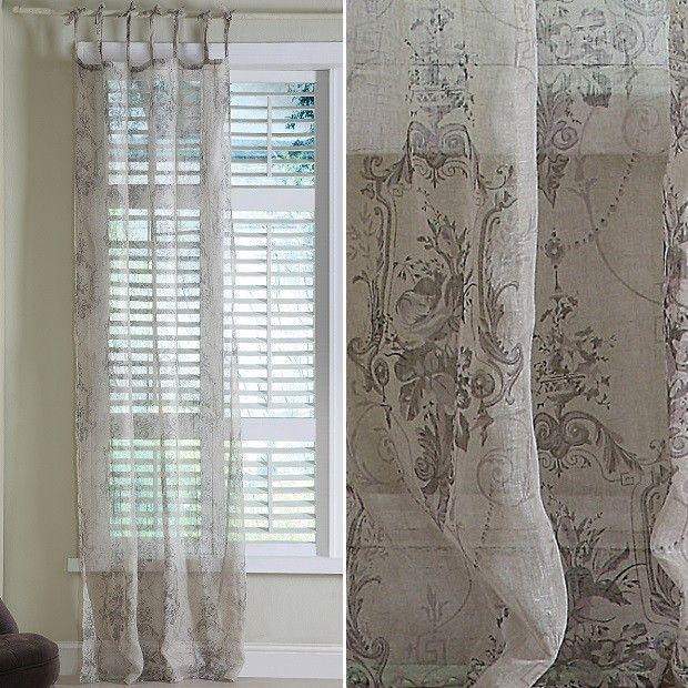 Linen Voile Curtain With Damask Pattern Damask Curtains Voile Curtains Damask Pattern